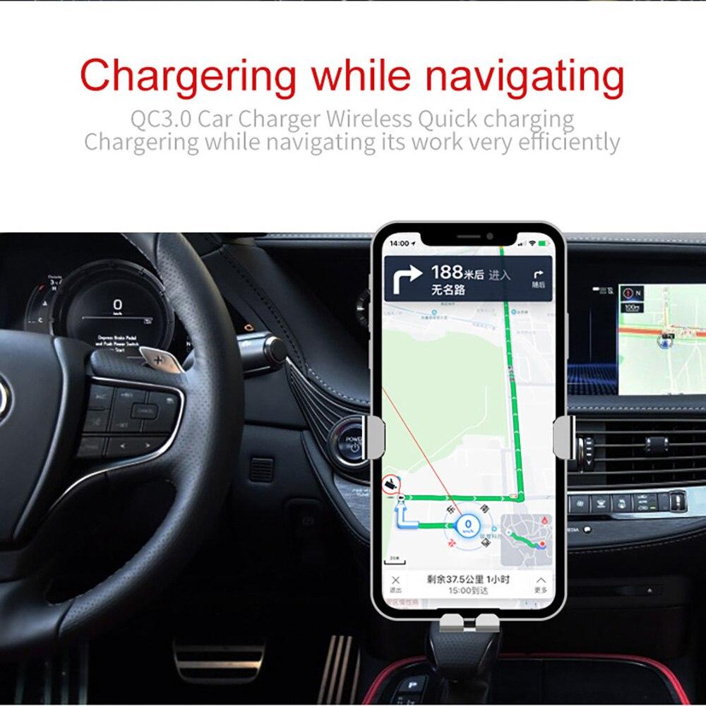 DCAE 10 W Cepat QI Mobil Nirkabel Charger Gravity Holder untuk iPhone - Aksesori dan suku cadang ponsel - Foto 4