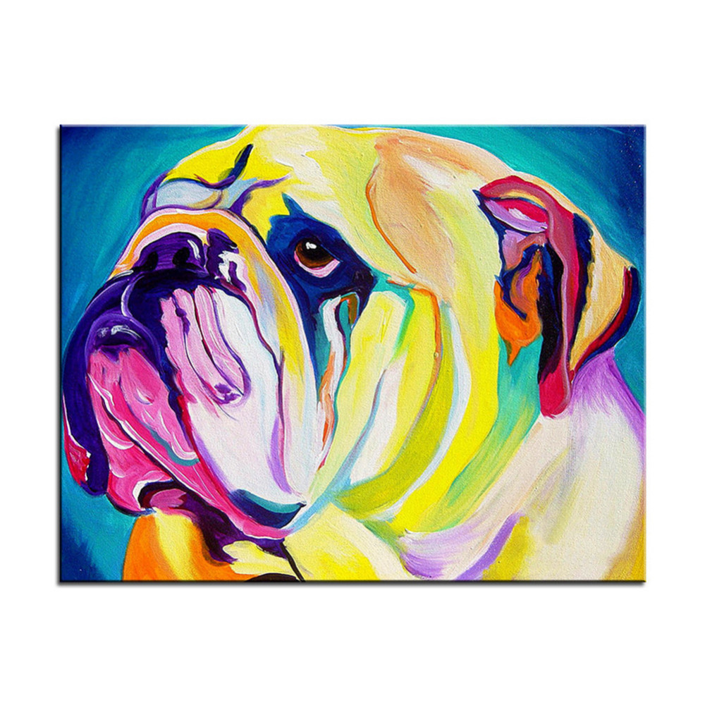 Creative Graffiti Dog Canvas Painting Wall Picture Colorful Puppy ...