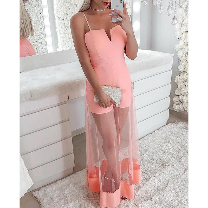 V-Cut Spaghetti Strap Mesh Romper Women Mesh Sheer Patchwork Sexy Overalls Elegant Ladies Pink   Jumpsuit   Summer body mujer