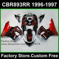 7 prezenty fabryka fairing zestaw dla HONDA cbr 600rr 1996 1997 CBR 893RR CBR900RR 96 97 fireblade czerwony płomień motocykl CBR 893 owiewek