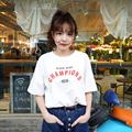 2016 Summer New Fashion Causal Letter Printed Simple All Match White Short Sleeve Female T-shirt