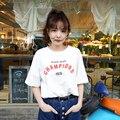 2016 Verão de Moda de Nova Causal Letra Impressa T-shirt Simples Durante Toda a Partida de Manga Curta Branco Feminino