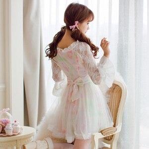 Image 2 - נסיכה מתוקה לוליטה שמלת ממתקי גשם סתיו חדש מתוק חלול החוצה הדפסת נסיכה ארוך שרוול תחרה שמלת C16CD6146