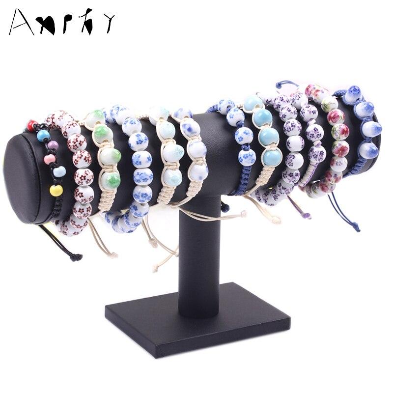 Black T bar Leather Bracelet Stand Necklace Displays Shelf Watch ...