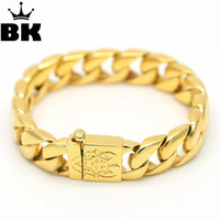 Hip Hop Iced Out Mens Stainless Steel Solid Heavy Super Exaggerated Gilded Cuban Curb Chain Bracelet
