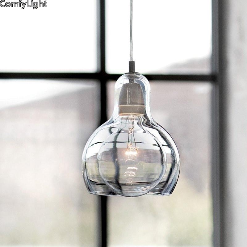 Vintage pendentif lumières américain ambre verre pendentif lampe E27 Edison lumière ampoule salle à manger cuisine décor à la maison planétarium lampe - 3
