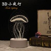 התוספת LED מנורת שולחן אור לילה 3D אור מתנת יום הולדת אור בחדר שינה בייבי האכלה