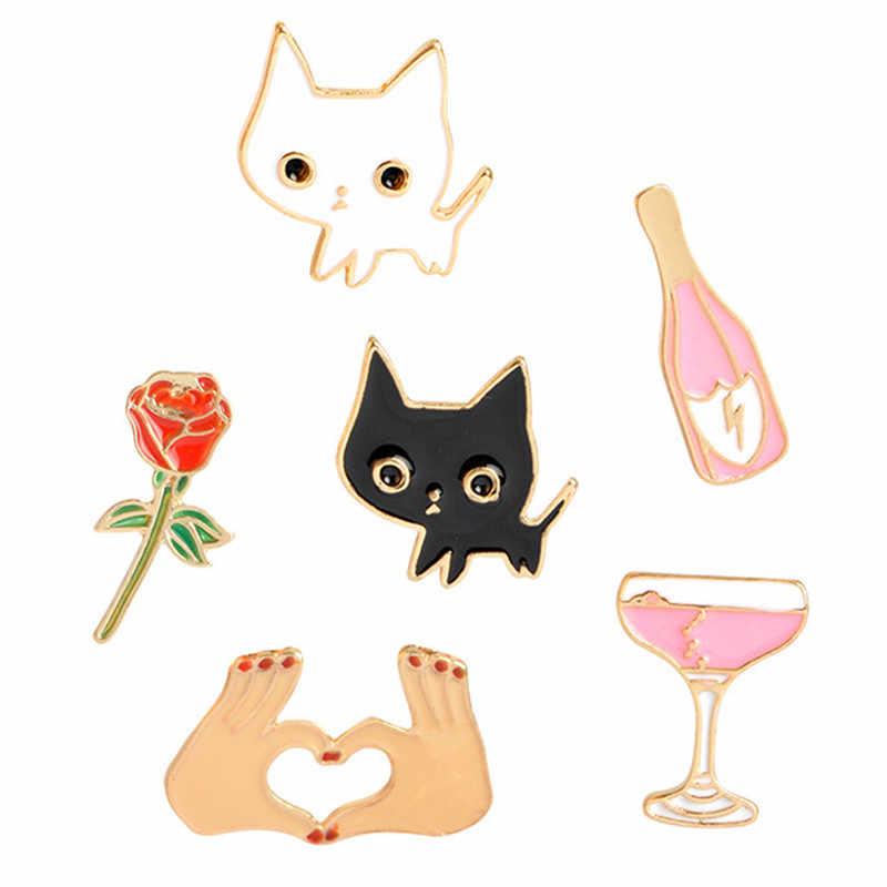 Cartoon Fashion Enamel Pin Rose Bloem Hart Vorm Witte Kat Zwarte Kat Reversspeldjes Dier Broche Denim Jassen Metalen Broche