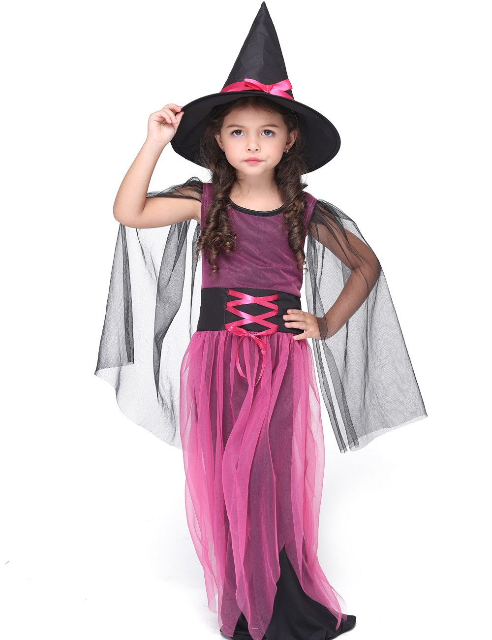 Hot Selling Girl Witch Dress Costume Halloween Costume For Kids Stage & Dance Wear Toddler Long Dress Party Cosplay Rose Red