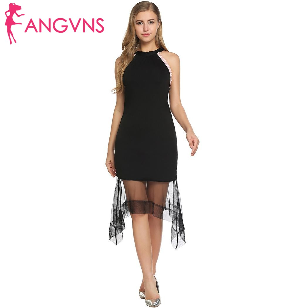 ANGVNS Party Kleid frauen Sexy Blume Backless Sheer Netz ...
