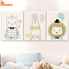 Cartoon Bear Rabbit Lion Wall Art Canvas Painting Nordic Posters And Prints Nursery Animals Wall Pictures Baby Kids Room Decor cartoon cute rabbit bear quote nursery wall art canvas painting nordic posters and prints wall pictures for baby kids room decor