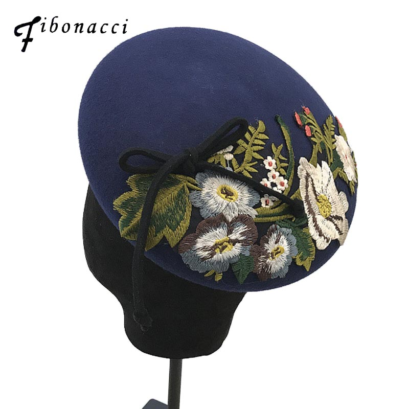 Fibonacci 2018 New Brand Quality Elegant Female Bow Floral Berets Wool Felt Cap Autumn Winter Hats for Women Beret