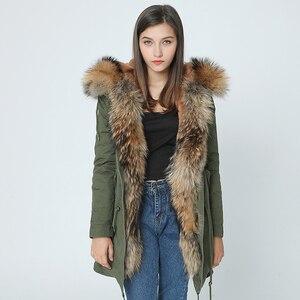 Image 4 - OFTBUY 2020 เสื้อแจ็คเก็ตสตรีฤดูหนาวใหม่ยาวจริงขนาดใหญ่ Raccoon ขน hooded Parkas หนา outerwear stree สไตล์