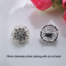 (S0677) 19mm rhinestone brooch, with pin at back,silver plating,ball shape(China)