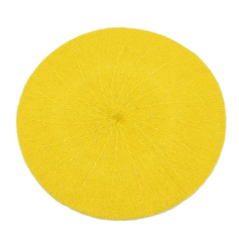 Новинка, женская зимняя шапка, берет, женская шапка из смеси шерсти и хлопка, 16 цветов, новые женские шляпы, шапка s, черная, белая, серая, розовая, Boinas De Mujer - Цвет: Цвет: желтый