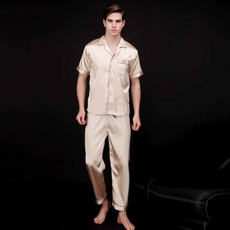 New Fashion  Men's Silk Satin Pajamas Shirts+ Pants 2PCS Sleepwear Lounge Home Wear Pajama Set Free Shipping L XL XXL