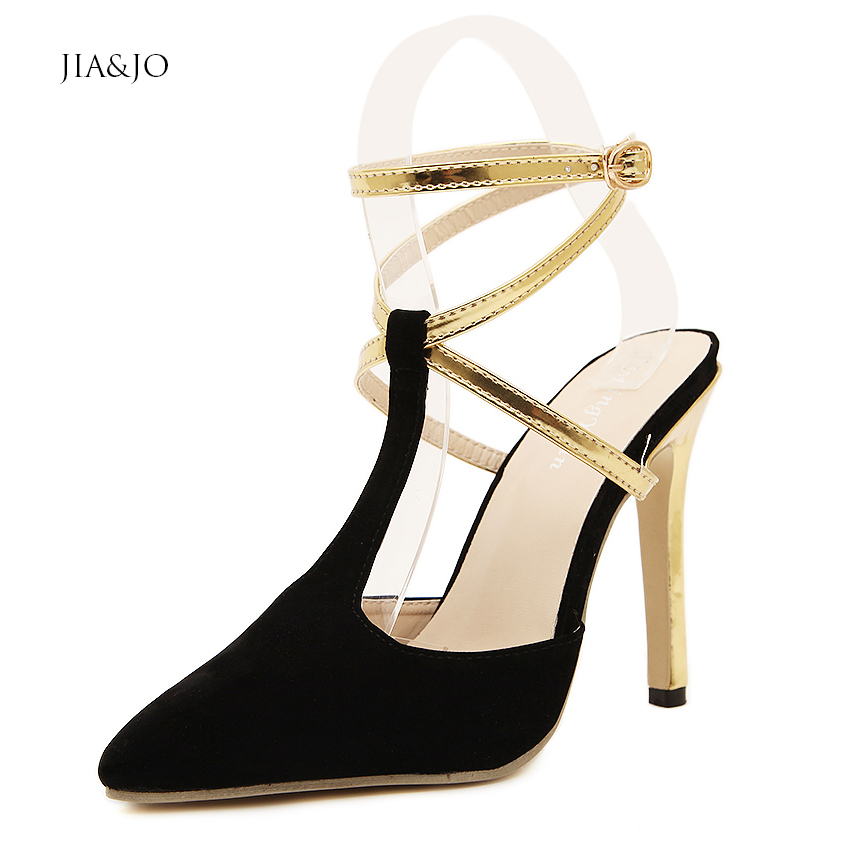 Size 35-40 Summer Women Gold Cross Strap Sandals Slingback Pumps Pointed Toe High Heels Celebrity Red Carpet Dress Shoes 3399 - New Fashion store