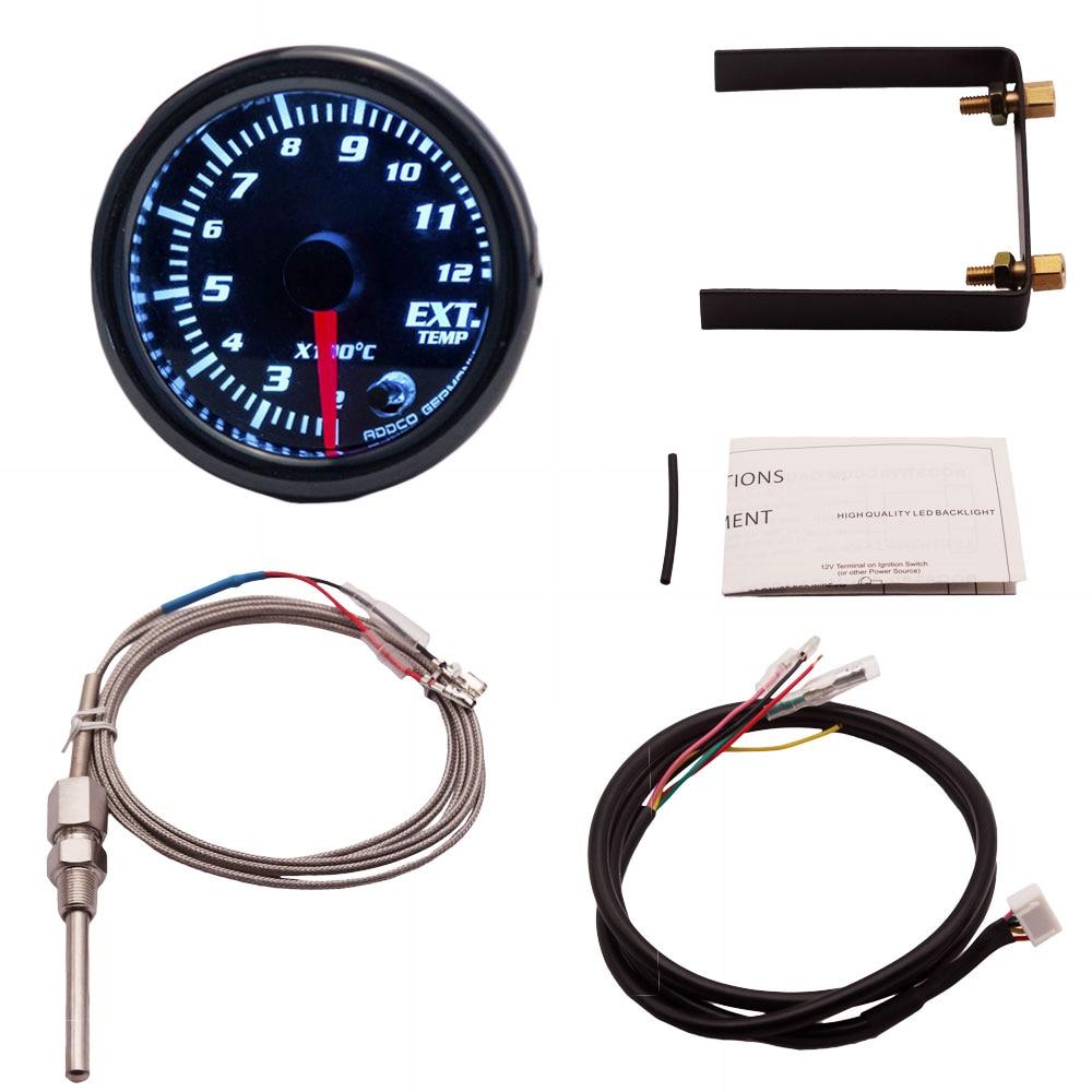"2/""//52mm 7 Color LED Car Exhaust Gas Temp Gauge Ext Temp Meter With Sensor Holder"