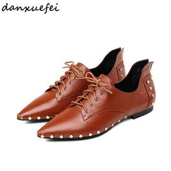 4 Color plus size women's genuine leather oxfords brand designer pointed tpe leisure soft espadrilles rivet loafers shoes women