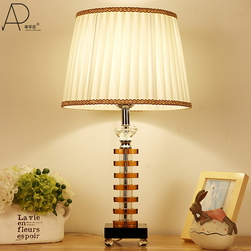 TUDA Free Shipping Brown Cloth Shade Table Lamp Modern Concise K9 Crystal Table Lamp Contemporary Style Desk Lamp E27 110V-220V free shipping modern dining table designs discount lamp shades