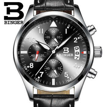 Binger CHRONOGRAPH & 24 Hours Function Sport Watch Leather Black Luxury Men Watch Men Top Brand Military Watch relogio masculino - DISCOUNT ITEM  48% OFF All Category