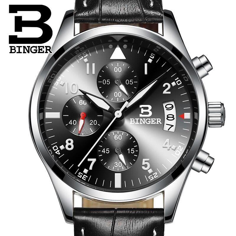 Binger cronógrafo y 24 horas función deporte reloj de cuero negro de los hombres  de lujo reloj de los hombres de la marca Superior Militar reloj masculino  ... ba5667f997b0