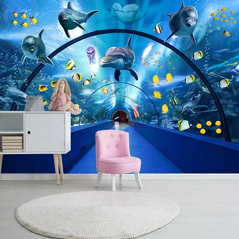 תמונה מותאמת אישית טפט 3D עולם התת קריקטורה קיר ילדי חדר שינה מסעדה מרחב יצירתי רקע קיר ניירות עבור קירות 3 D