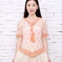 Bohemian Handmade Crochet Lace Women Blouses Shirts Beach Cover Up Patchwork Loose Batwing Sleeve Pareos Ladies
