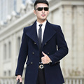 2016New Man Long trench coat wool coat Winter peacoat Men's wool Coat mens overcoat men's coats male clothing Package mail