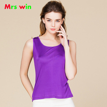 O-Neck Tee Shirt Tops Women Sleeveless Candy Color Female Basic Wild Causal Vest Top Shirts 100% Real Silk Women Tank Tops Femme