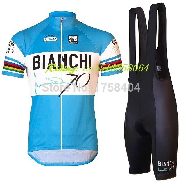 ff700e93a Maillot Santini 70 Jersey azul blanco Cycling jersey Clothes Cycling short  sleeve jersey+Bib Shorts quick-drying gel pad