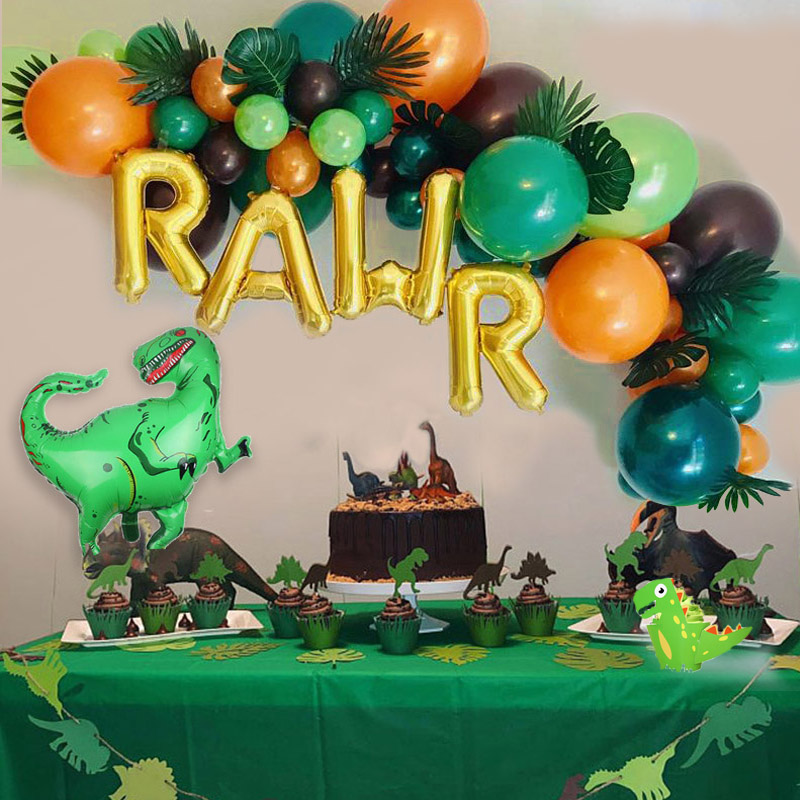 Balloons Jungle Party-Supplies Party-Decoration Dinosaur Boy Birthday for Kids Jurassic