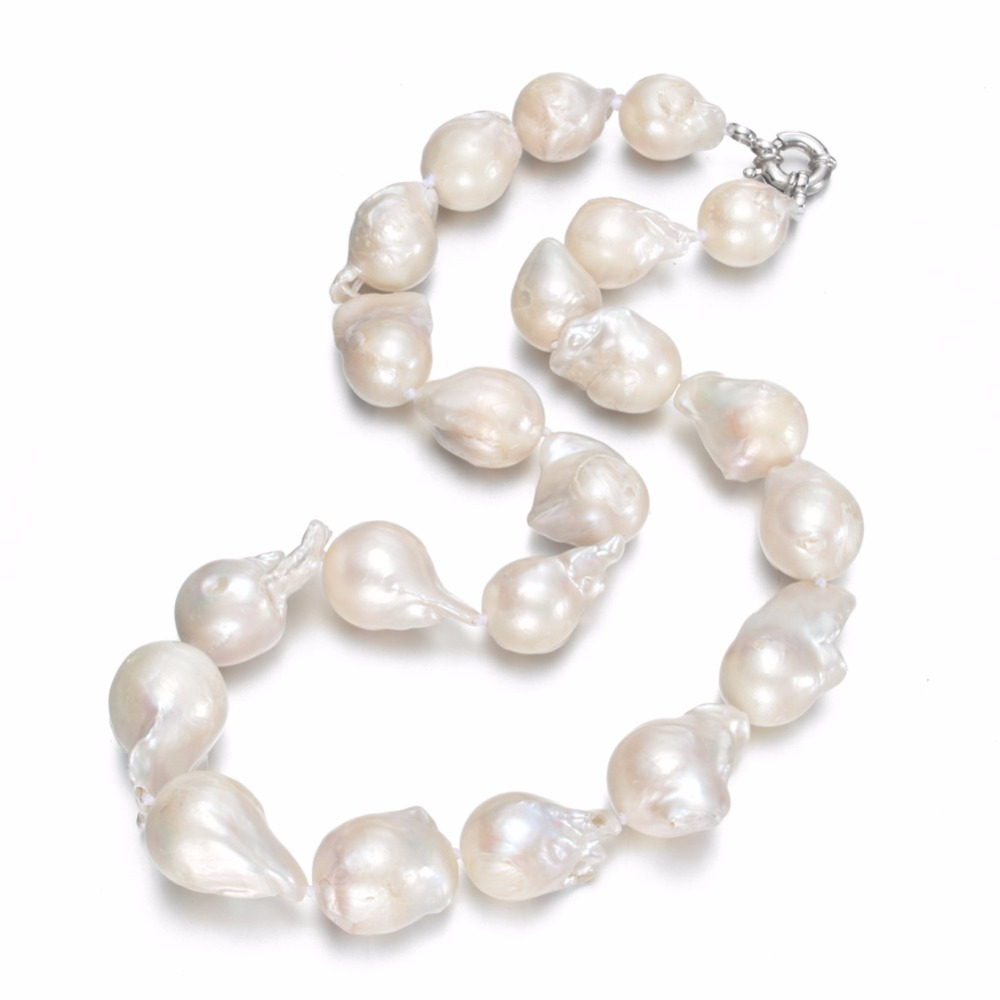 SNH 13-15mm A nucleated 925silver Natural Freshwater Pearl Necklace Single Necklace for Women Pearl Beaded Chocker Wholesale недорго, оригинальная цена