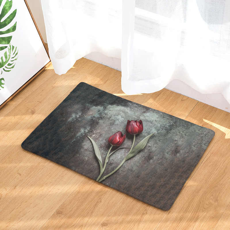 CAMMITEVER Withered Red Rose Daisy Lavender  Doormat Carpet Home Decor Area Rugs Bedroom Floor Living Room Mat Good Quality