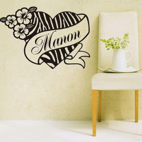 Personalized Name Customer Zebra Print Heart Flower Hibiscus Say ...