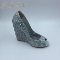 Серебристые женские туфли лодочки со стразами, свадебные туфли с открытым носком, свадебные туфли на высоком каблуке, туфли на танкетке, туф