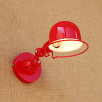 Antique Red reto industrial metal shade Mini Iron wall lamp LED swing arm for workroom bedside bedroom illumination sconce