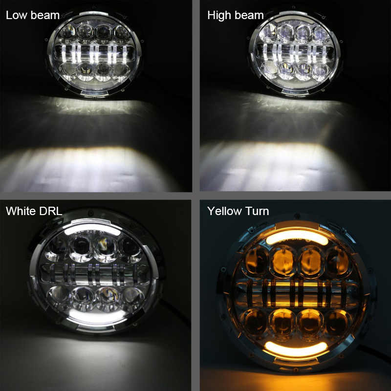 FADUIES For Jeep Wrangler 7 Inch 80W Silver Headlight High Low Beam Chrome Projector Headlamp Bulb