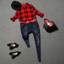 European style women 2 piece jeans suits  2016 new fall Plaid Shirt Jeans Straight pants suit Women with pants sets DYU4891