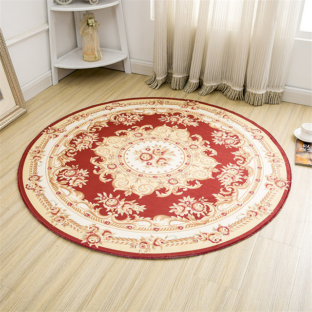Europe Clic Carpet And Persian Carpets Design Polyester Fabric Round Rug Diameter 80cm Red Area Rugs