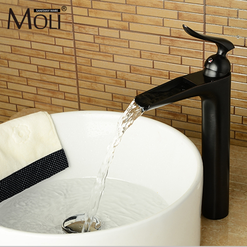 New design waterfall bathroom basin faucet high quality oil-rubbed bronze sink faucets deck mounted cold and hot water tap oil rubbed bronze deck mounted waterfall hot and cold basin faucet dual handles