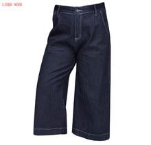 Женские большой размер джинсы эластичный пояс Женские повседневные укороченные джинсовые брюки широкую ногу Женский Большой размер клеш Джинсы 6XL 7XL