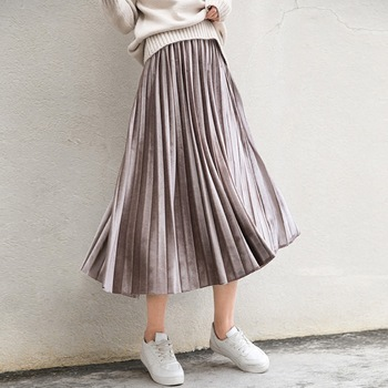 Spring 2018 Women Long Metallic Silver Maxi Pleated Skirt Midi Skirt High Waist Elascity Casual Party Skirt Платье