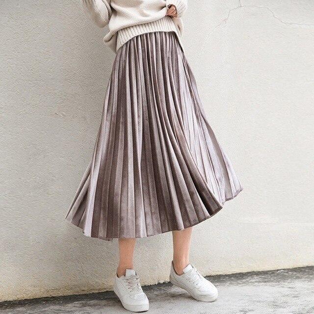Spring Women Long Metallic Silver Maxi Pleated Midi High Waist Elasticity Casual Party Skirt