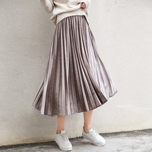 Spring 2019 Women Long Metallic Silver Maxi Pleated Skirt Midi Skirt High Waist Elascity Casual Party Skirt(China)