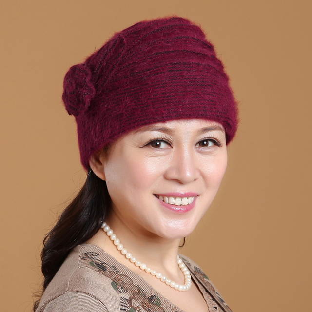 f61910f4386 Autumn and winter in the old lady old lady hat plus velvet warm winter hat  hat old female rabbit hair knitted cap