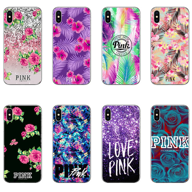 95983add9c8a3 US $0.98 35% OFF Hot fashion pink Color Victoria secret case for iPhone XS  XR Max 5 6 7 8Plus Decorative pattern Soft TPU Silicon Phone cover-in ...
