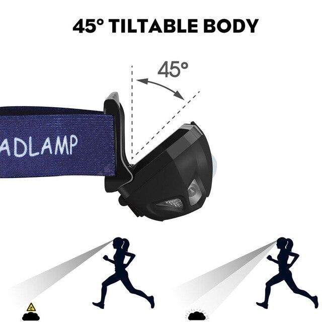 Фото светодиодный налобный фонарь с датчиком движения аккумулятором