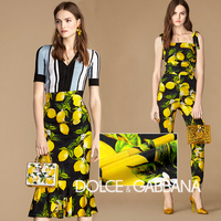 High quality 19mm black 97% mulberry silk fabric stretch satin tissu lemon prints pillow summer haute couture fabrics wholesale