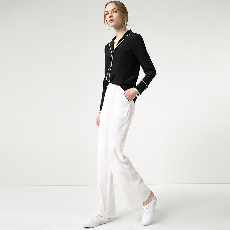 Women's Wide Leg Pants 2018 Spring New Full Length Pants Europe and the United States Mid Waist Black White Solid Pants BDX044